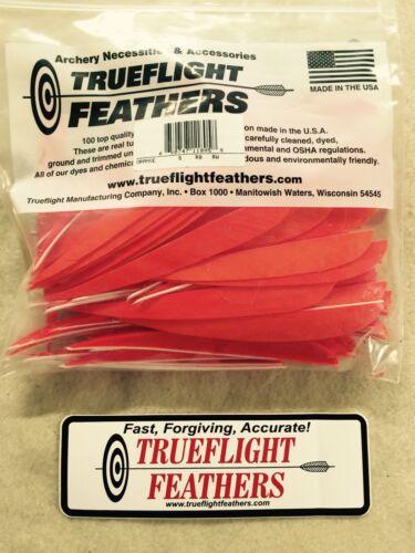 environ 12.70 cm plumes aile droite parabolique Cut 100 Pack orange Trueflight 5 in