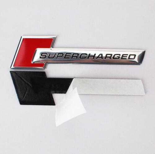 2PCS Small Red Chrome SUPERCHARGED Metal Badge Sticker Emblem Limited Sport Car