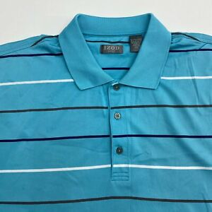 Izod Golf Polo Shirt Mens 2XL XXL Short Sleeve Blue White Striped 100% Polyester