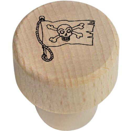 BS00005566 19mm /'Pirate Flag/' Wooden Bottle Stopper Cork