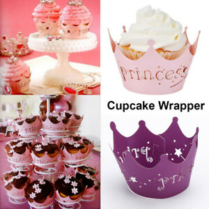 Image Is Loading 10pcs Princess Crown Paper Cupcake Wrappers Topper For