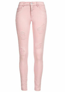 B15021105 Damen Only Hose Jeans Destroy Look Regular Fit rosa pink