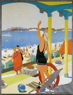 140cm Large weymouth UK seaside beach vintage art print poster
