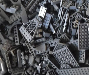 100-DARK-GRAY-LEGO-PIECES-FROM-HUGE-BULK-LOT-BRICKS-PARTS-RANDOM-Grey