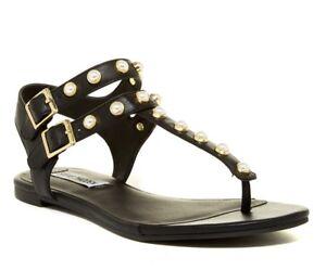 STEVE-MADDEN-Womens-039-Jackie-039-Black-Studded-Thong-Sandals-Sz-5-12