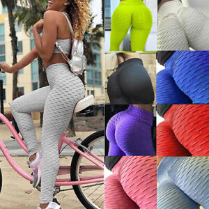 UK Womens High Waist Yoga Pants Gym Ladies Leggings Butt Lift Elastic Trousers