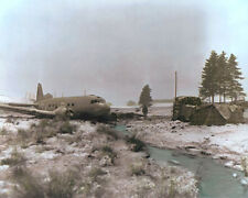 "C47 CARGO PLANE CRASH 101st AIRBORNE BASTOGNE WWII 8x10"" HAND COLOR TINTED PHOTO"