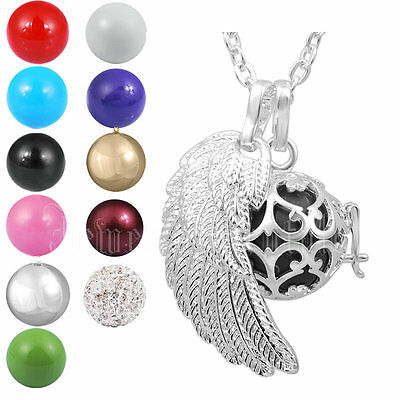 Silver plated cage Pendant+Chime Ball+Angel Wing+Chain Harmony Ball Necklace
