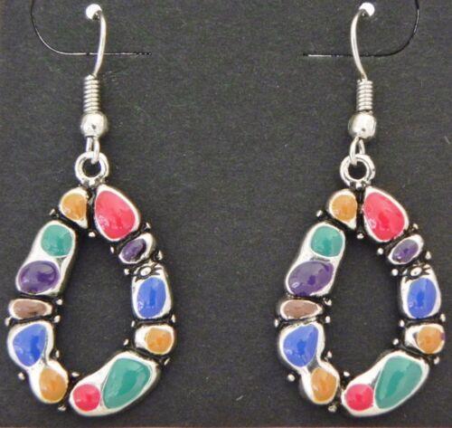 1 Pair of Multi Color Earrings 17 mm 43 mm Long Nickle Lead Cadmium Free ER007