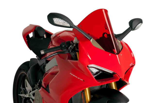 DUCATI PANIGALE V4 2018 > PUIG DOUBLE BUBBLE SCREEN RED RACING WINDSCREEN