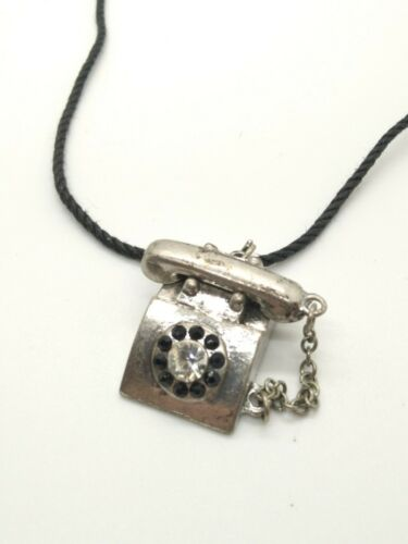 Vintage Silver Tone Telephone Charm Cord Necklace
