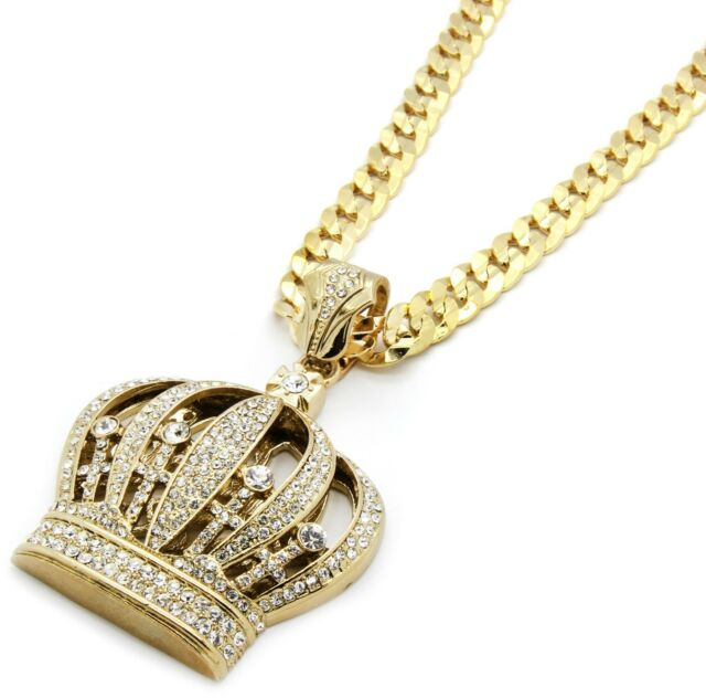 """Mens Gold Iced Out Queen Crown Pendant Hip-Hop 30"""" Inch Cuban Necklace Chain"""
