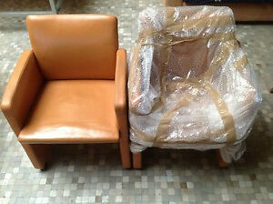 Used-Silla-ArmChair-Chair-Chaise-GRASSOLER-Brown-Leather-Piel-Marron-con-ruedas