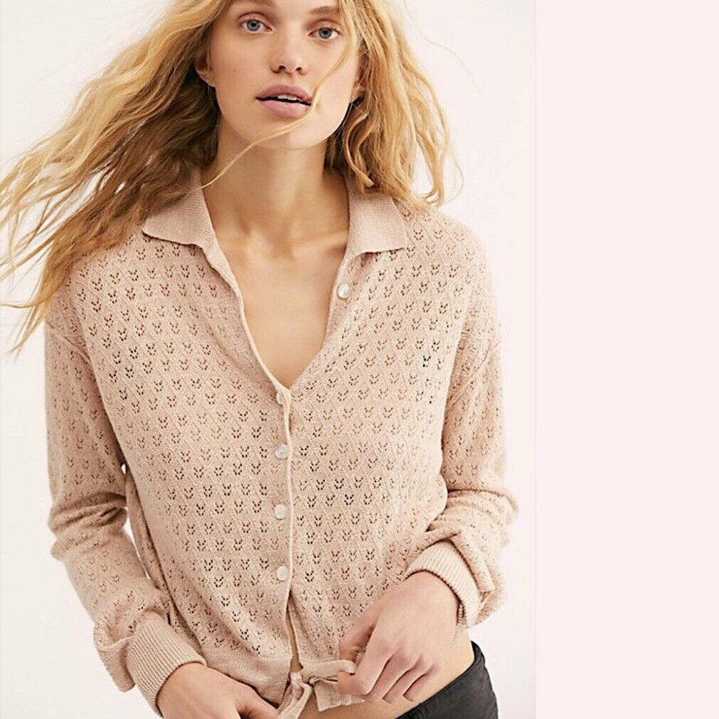 NWT Free People Betty Tie-Front Knit Sweater Top Neutral LARGE L  148