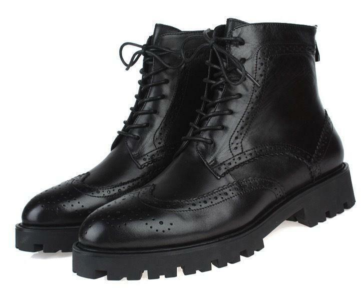 Black Chic  Wingtip Leather Combat Military Ankle Boots Men's Oxfords Shoes New