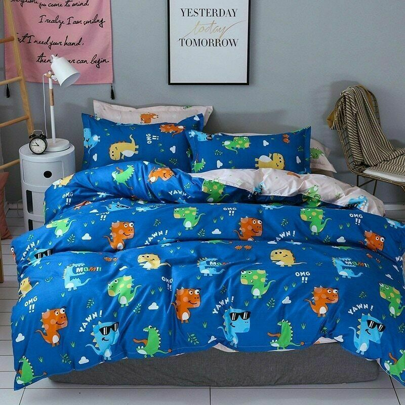 Cartoon Dinosaur Bedding Set Duvet Cover 3D Bedspread Twin  Queen  King 2-3 Pcs