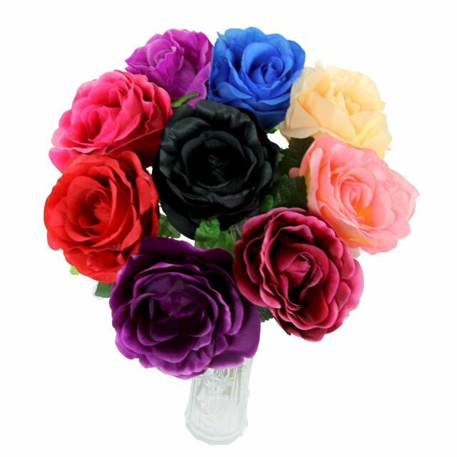Set of 9x large open roses bulk wholesale silk artificial flowers brand new lowest price mightylinksfo