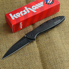 Kershaw Leek Blackwash 14C28N Plain Edge Assisted Open Framelock Knife 1660BLKW