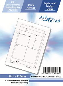 Klebeetiketten DIN A4 weiß 99,1x120mm (Laser Inkjet Kopierer) 100 Blatt