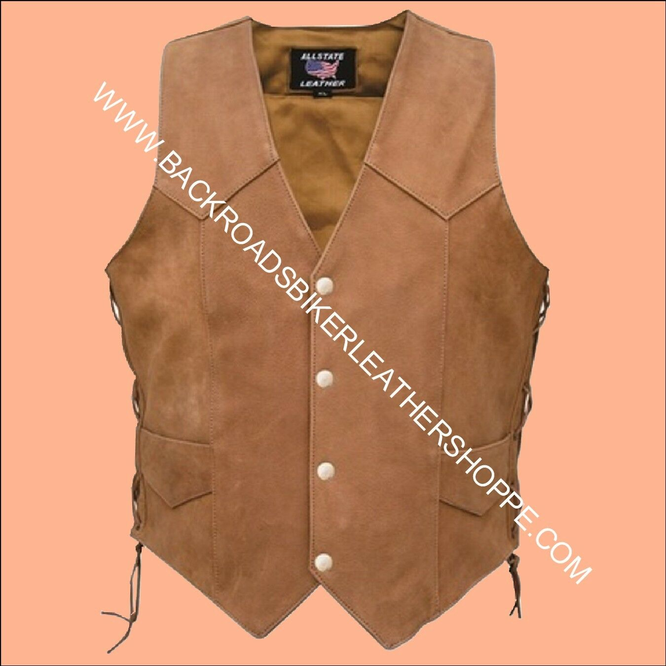 Ladies Women's Brown Leather Motorcycle Biker Vest Western - Sizes XS to 5X
