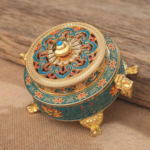 Tibetan Incense Burner Holder Painted Alloy Incense Burner Container-Blue