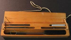 Antique-Vtg-F-amp-G-Manufacturing-Injector-Cleaning-Kit-w-wooden-box-Menominee-MI-E