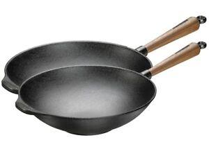 skeppshult gusseisen wok pfanne walnussgriff in zwei gr en ebay. Black Bedroom Furniture Sets. Home Design Ideas