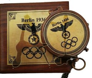 Brass Berlin 1936 compass with Olympic logo