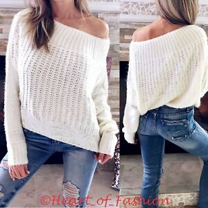 9a2deb76a2 Image is loading Womens-Sexy-Off-Shoulder-Relaxed-Knit-Chunky-Oversized-