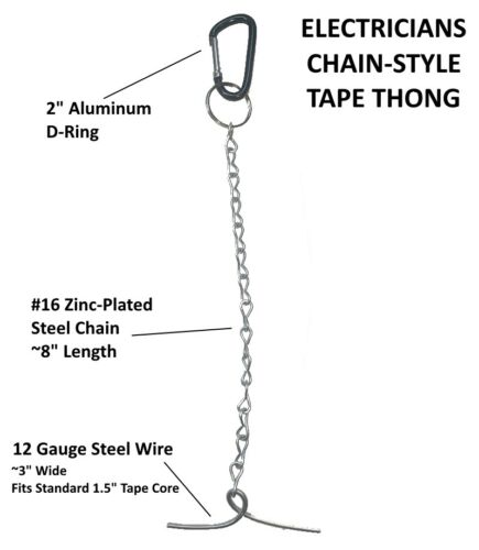 Carabiner Style T-Chain Electricians Style Tape Thong Electrical Tape Holder