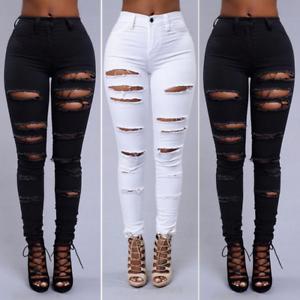 Pantalones De Tiro Alto Rasgados Cintura Alta  Colombianos Levanta Cola Moda