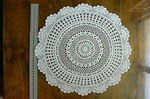Hand Crochet Doily Centre Cotton CREAM Round App 34cm across Rnd486/7