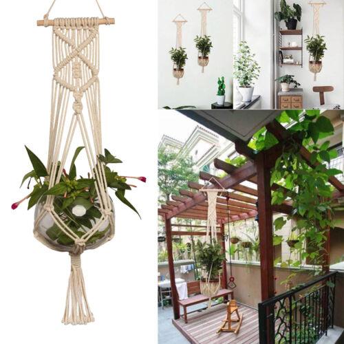 Pot Holder Macrame Plant Hanger Hanging Planter Basket Jute Rope Braided Craft~