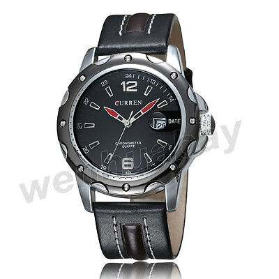 Newest CURREN Fashion Black/Red Leather Band Quartz Wrist Watch Men Boys Gifts