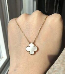 Four-Leaf-Clover-Floret-Mother-Of-Pearl-18K-solid-gold-Pendant-Necklace-NEW