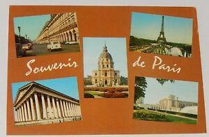 Carte-Postale-SOUVENIRS-de-PARIS-INVALIDES-TOUR-EIFFEL-MADELEINE-TROCADERO