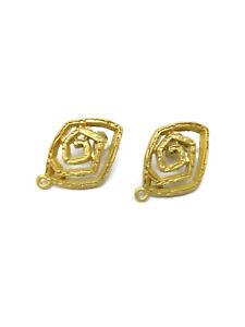 2 basi x orecchini forma rombo spirale in zama placcato oro giallo satinato