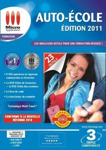 Auto école Ed 2011 de Micro Application -1 DVD ROM-PC/2 DVD VIDEO/1 LIVRE - NEUF