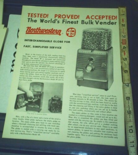 Northwestern 49 Bulk Vender Machine ad Sheet NOS 1950/'s NICE PIC INFO two side
