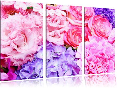 Cadre Bouquet de Fleurs 3-Teiler Image de Toile Décoration Murale
