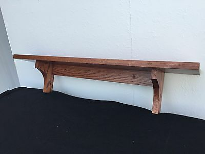 Wall Shelf Solid Oak Wood Mission Style With Cherry Finish