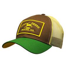 Authentic John Deere Est. 1837 Vintage Logo Brown Hat Khaki Mesh Green  13080403 6c8858bce9ea