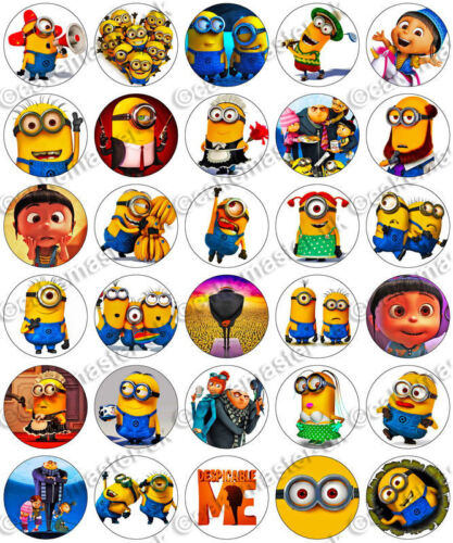30 x MINIONS DESPICABLE ME Party Edible Wafer Paper Cupcake Toppers *PRECUT*