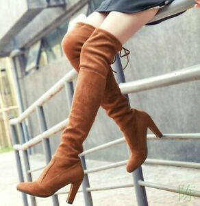 Womens Over The Knee Boots Lace Tie