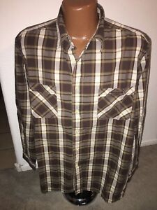 Lucky-Brand-Dungarees-Brown-Plaid-Long-Sleeve-Shirt-Size-Large
