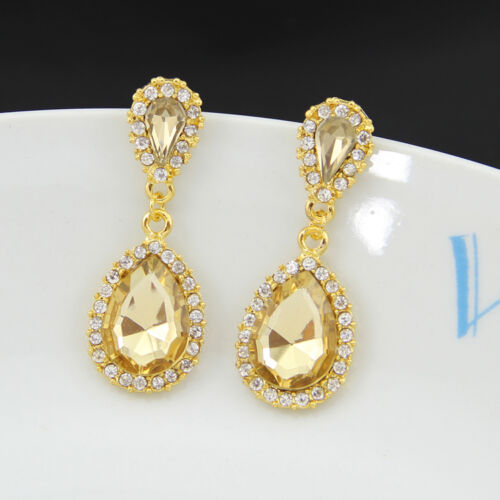 Fashion crystal Earring champagne rhinestone wedding party drop dangle earrings