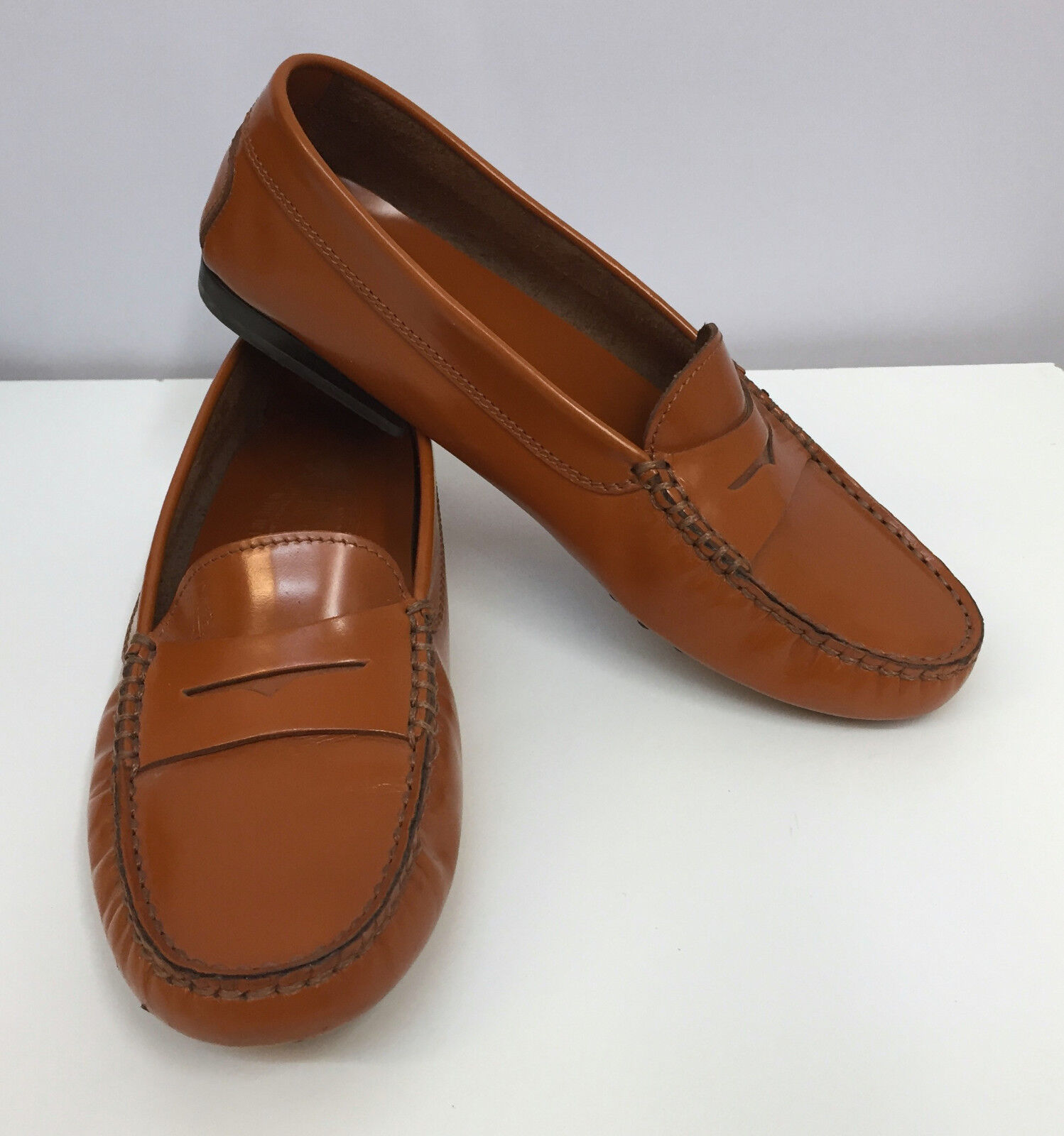TOD'S LOAFERS Schuhe DRIVING Schuhe ORANGE TAN WAXED LEATHER HAND MADE SIZE 5 1/2