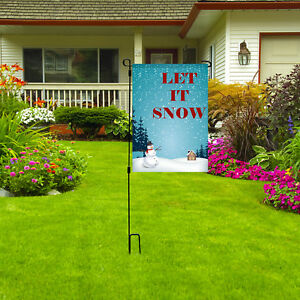 "Let It Snow Garden Flag, Winter Snowman Christmas Holiday Decor Flag, 12""X18"""