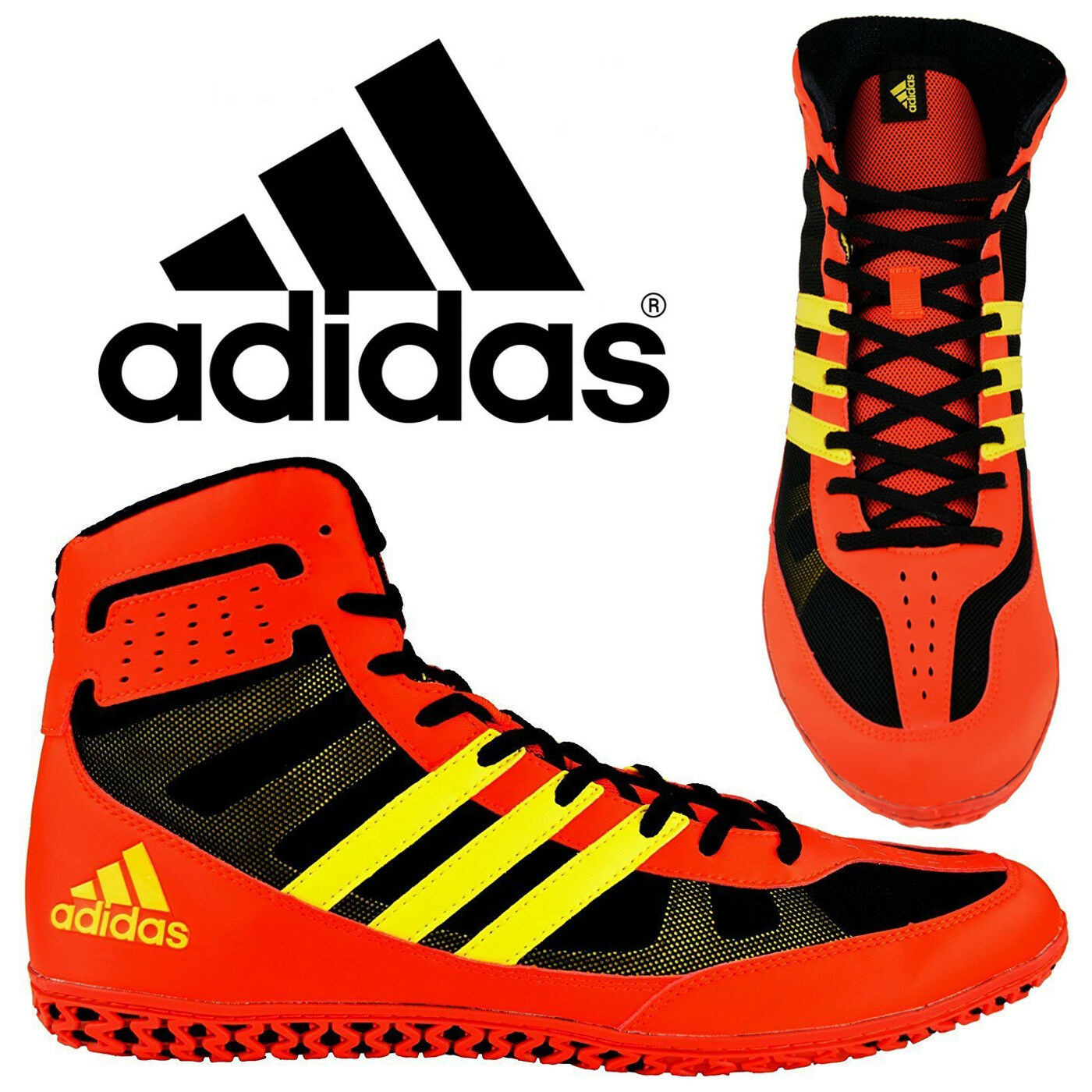 Adidas Mat Wizard 3.1 Red Red Red Yellow Wrestling Shoes Specialist Light Weight Control 0a623d