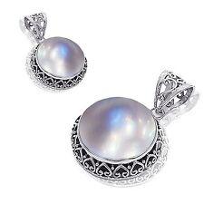 Genuine Mabe Pearl Oxidized Sterling Silver Heart Filigree Halo Pendant